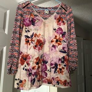 Anthropologie Watercolor Floral Top